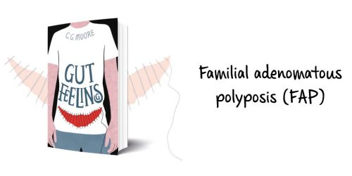 Gut Feelings by C. G. Moore. Cover with background illustration on left, words on right: Familial adenomatous polyposis (FAP)