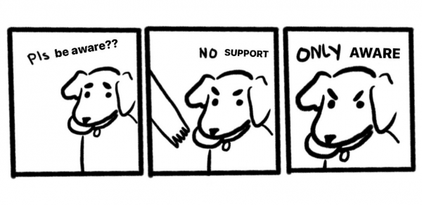 Meme of dog: comic strip - First panel Pls Aware, Second panel dog looks angry and says NO Support, Third panel ONLY AWARE