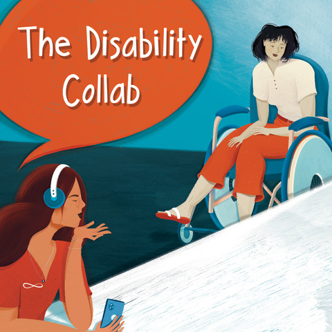 Cover art for The Disability Collab Podcast - cartoon image of two people talking, one of them is in a wheelchair